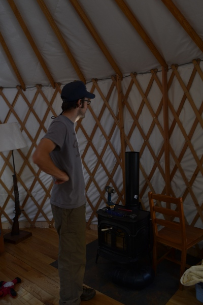 One of our big projects before the snow flies was to get the woodstove plumbed into the yurt.
