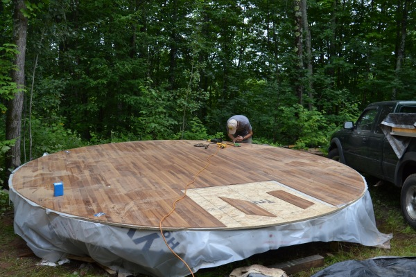 Nonesuch Yurt platform with wood floors, August 20th, 2014